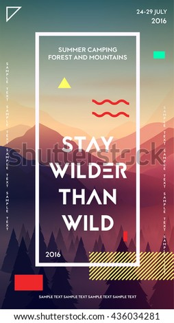Modern motivational poster template with forest and mountains. Trendy typographic and design elements. Vector illustration - stock vector