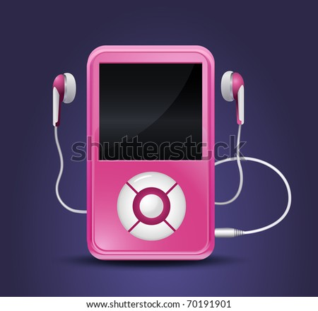 modern mp3 player with earphones - stock vector