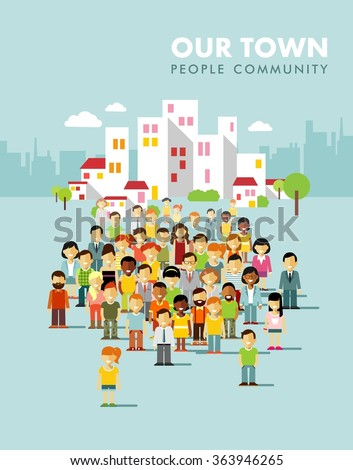 Modern multicultural society concept with city people in flat style. Group of different people in community on town background