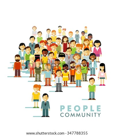 Modern multicultural society concept with people in flat style. Group of different people in community isolated on white background - stock vector