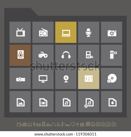 Modern multimedia icons for mobile devices and contemporary interfaces - stock vector