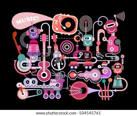 Modern music concert vector illustration isolated on a black background. Funny robots playing musical instruments.