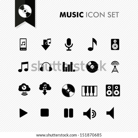 Modern music leisure and entertainment icon set. Vector file in layers for easy editing. - stock vector