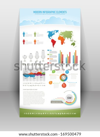 Modern nature infographic elements for web and print usage - stock vector