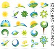 Modern nature symbol set - stock vector