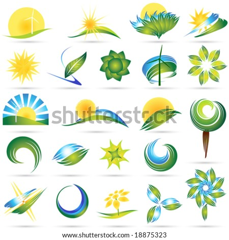 Modern nature symbol set - stock vector