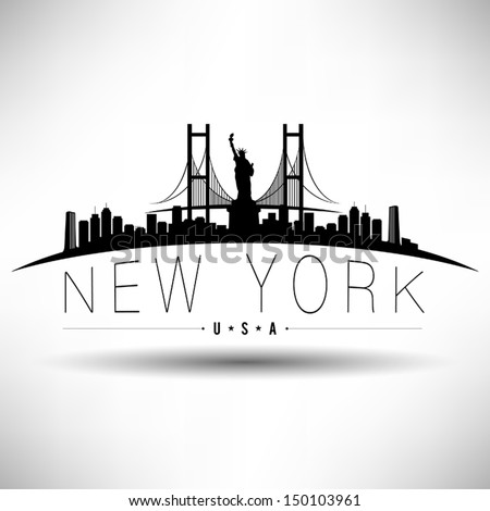 Modern New York Skyline Silhouette - stock vector