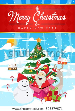 Modern nice detail merry christmas card stock vector 525879571 modern nice detail merry christmas card santa claus illustration suitable for brochure flyer m4hsunfo