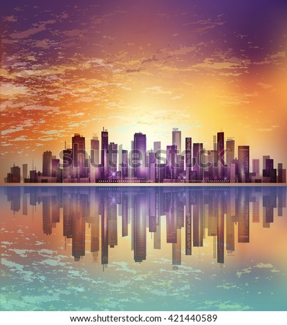 Modern night city cityscape in moonlight or sunset, with reflection in water and cloudy sky - stock vector