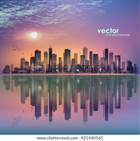 Modern night city landscape in moonlight or sunset, with reflection in water and cloudy sky - stock vector