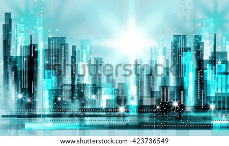 Modern night city skyline at night - stock vector