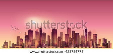 Modern night cityscape in moonlight or sunset
