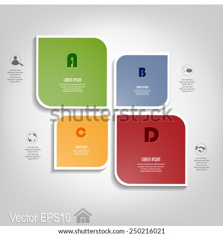 Modern numbered boxes template . Can be used for workflow layout, diagram, step up options, web design, banner template, infographic. Vector eps10. - stock vector