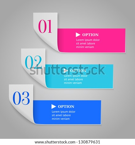 Modern numbered options banner. Bended stripes on gray background. Vector illustration. - stock vector