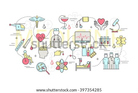 Modern of thin linear concept on a theme medicine and Health symbols. High quality vector logos.  Flat design style of medicine and healthcare.