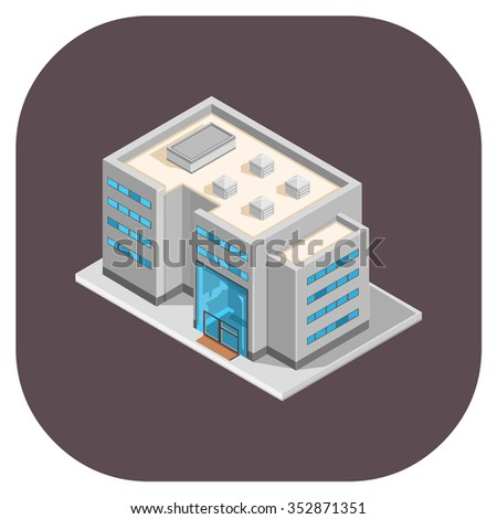 Modern office and big business icon.  Isometric Office or business buildings.  Large isometric office and place of work.