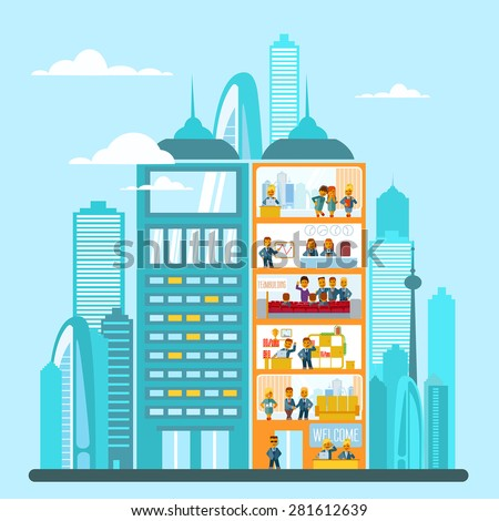 Modern office building in cartoon flat style. Interior and exterior, office inside and outside. Vector illustration with big city skyline and office building in front of it. Cutaway office building - stock vector