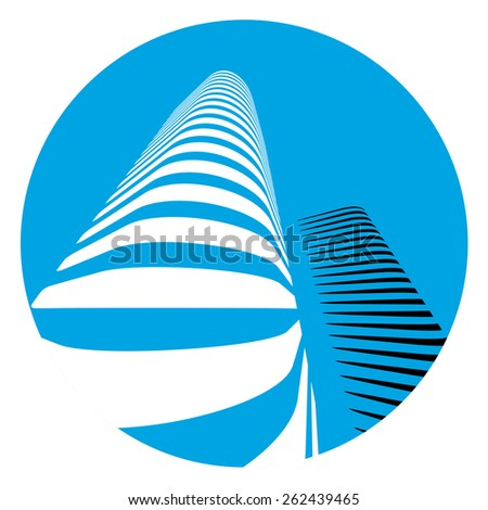 Modern office buildings icon on white background.  - stock vector