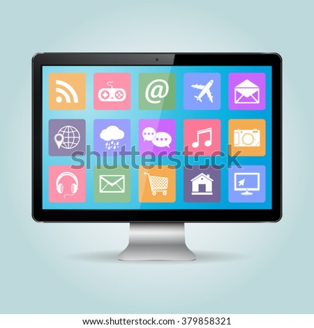 Modern office business desktop computer PC monitor with icons