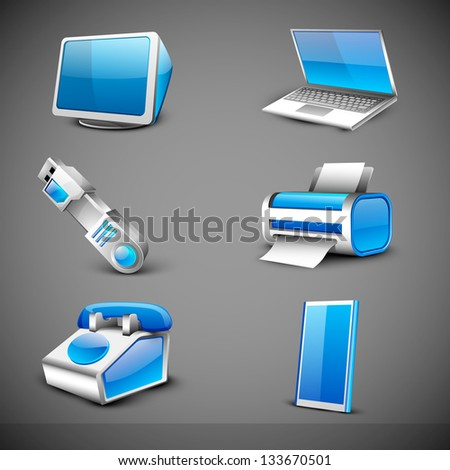 Modern office electronic icons set on grey background. EPS 10. - stock vector
