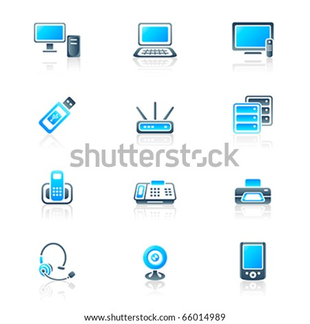 Modern office electronics icon-set in blue-gray colors - stock vector
