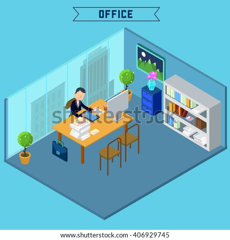 atwork office interiors. modern office interior isometric businessman at work room with furniture and atwork interiors