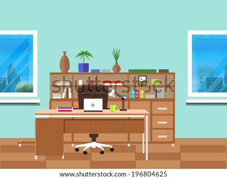 Modern office interior with designer desktop in flat design. Modern business workspace in the office with window - stock vector