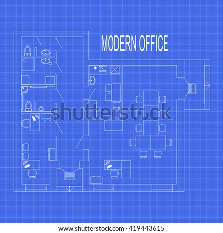 Blueprint floor plan modern apartment on vectores en stock 399209836 modern office interior with furniture on graph paper vector blueprint malvernweather Choice Image