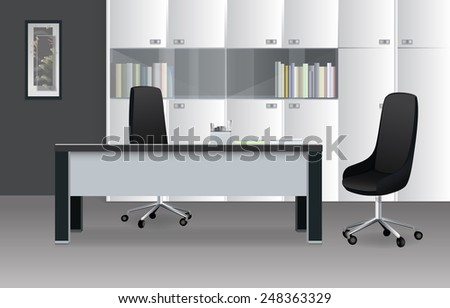 Modern Office Room in Shades of Gray - stock vector
