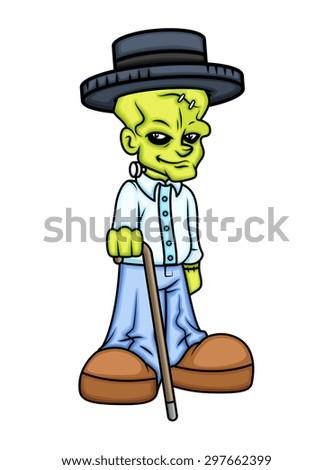 Modern Old Gentleman Wear Hat - Cartoon Character Vector - stock vector