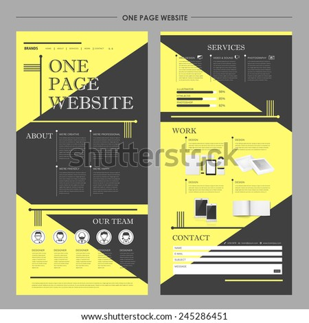 modern one page website design in flat design  - stock vector