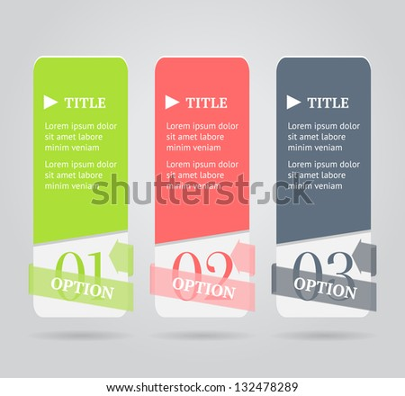 Modern option banners. Numbered banner with transparent origami arrow on gray background. Vector illustration. - stock vector