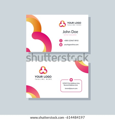 modern orange red business card template stock vector royalty free