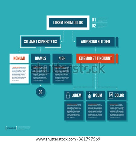 Modern organization chart template in flat style on cyan background. - stock vector