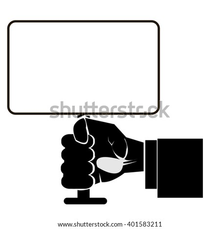 Modern outline hand with banner plate vector image. Can be use for logo, poster and background.
