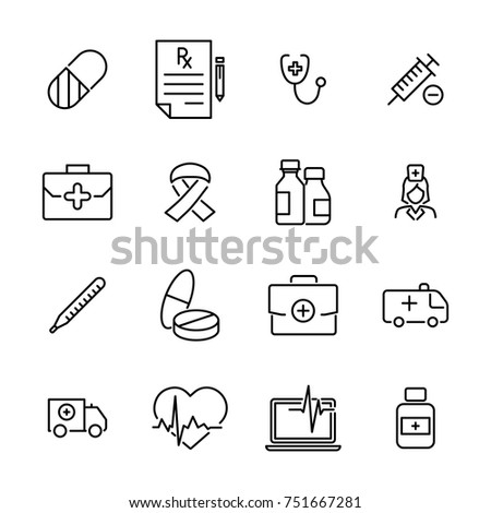 Modern outline style medical icons collection. Premium quality symbols and sign web logo collection. Pack modern infographic logo and pictogram. Simple health pictograms.