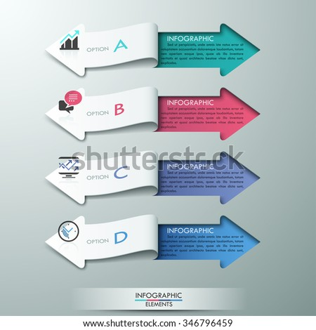 Modern paper arrow style infographic options banner. Vector illustration. can be used for workflow layout, diagram, step features, web design, presentations.