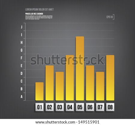 Modern paper financial graph chart template over dark pattern background for business design, infographics, reports, progress, websites, step presentation or workflow layout. Clean style - stock vector