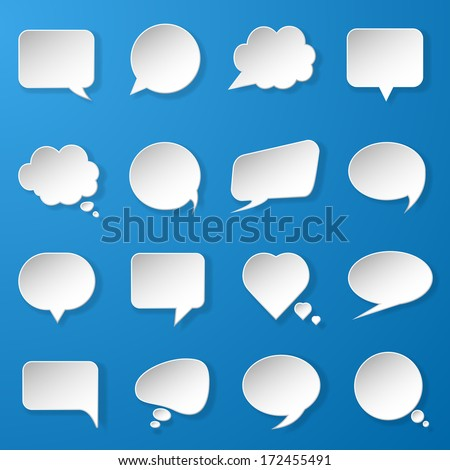 Modern paper speech bubbles set on blue background for web, banners, layouts, mobile applications etc. Vector eps10 illustration - stock vector