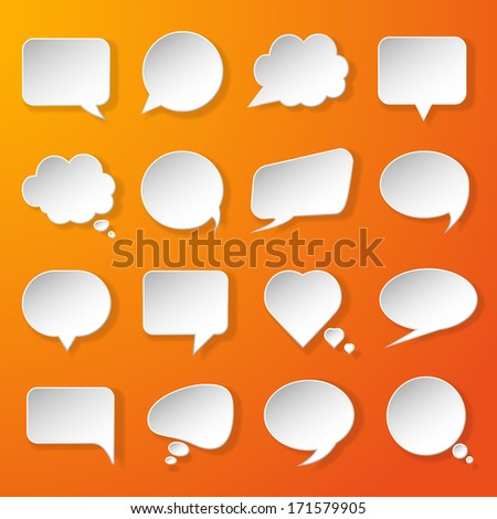 Modern paper speech bubbles set on orange background for web, banners, layouts, mobile applications etc. Vector eps10 illustration - stock vector