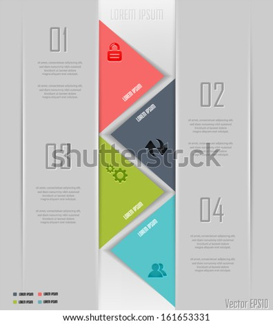 Modern parallel arrow style step up options banner. Can be used for workflow layout, number options, web design, infographics. Vector eps10. - stock vector