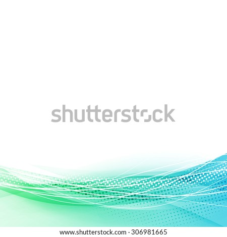 Modern particle and swoosh wave line background abstract speed concept contemporary high-tech layout. Vector illustration - stock vector