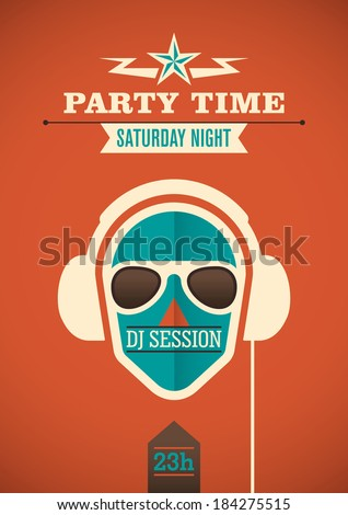 Modern party time poster. Vector illustration. - stock vector