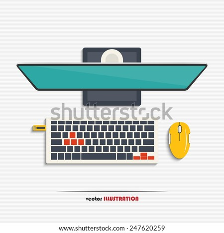 Modern pc monitor with blank screen, wireless keyboard, mouse and USB flash drive for your design  - stock vector