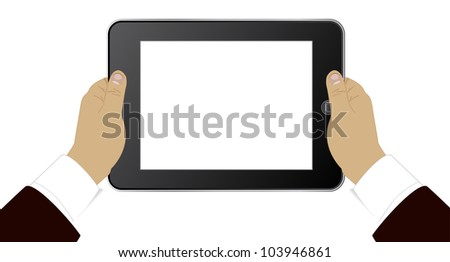 Modern PC tablet in hands of the businessman