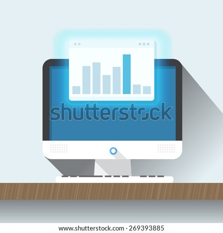 Modern personal computer with a browser. Flat design illustration. Layout for a content  - stock vector