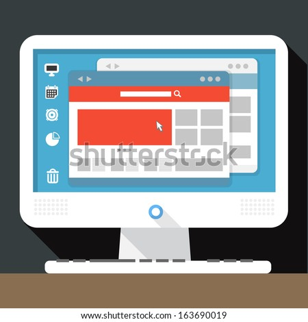 Modern personal computer with open browser on desktop - stock vector