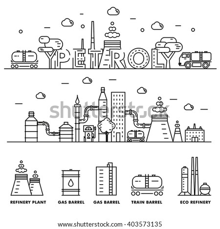 Modern petrol industry thin block line flat icons and composition with gas station technology  and development gasoline program in black and white style