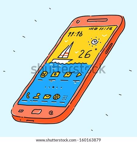 Modern phone - stock vector