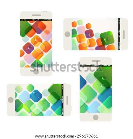 Modern phones collection with beautiful abstract wallpapers - stock vector